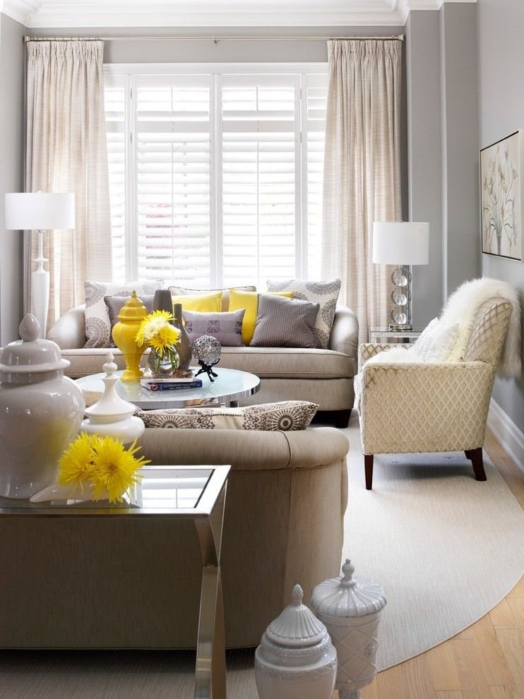 Benjamin Moore Stonington Gray for a Transitional Living Room with a Table Decoration and Jennifer Brouwer Design Inc. by Jennifer Brouwer (Jennifer Brouwer Design Inc)