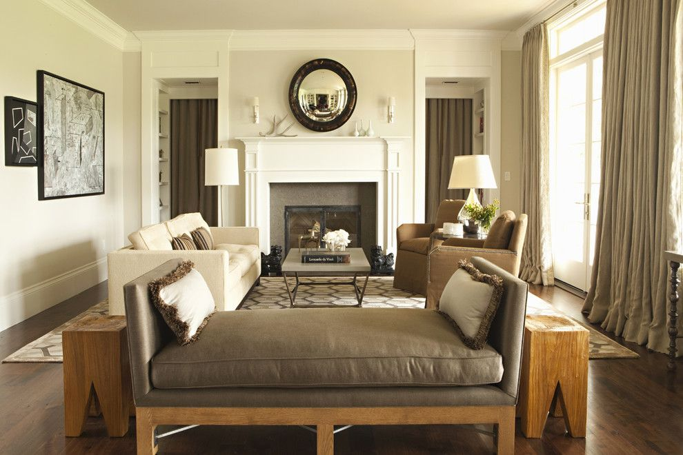 Benjamin Moore Swiss Coffee for a Transitional Living Room with a Area Rug and Hillgrove by Tim Barber Ltd Architecture