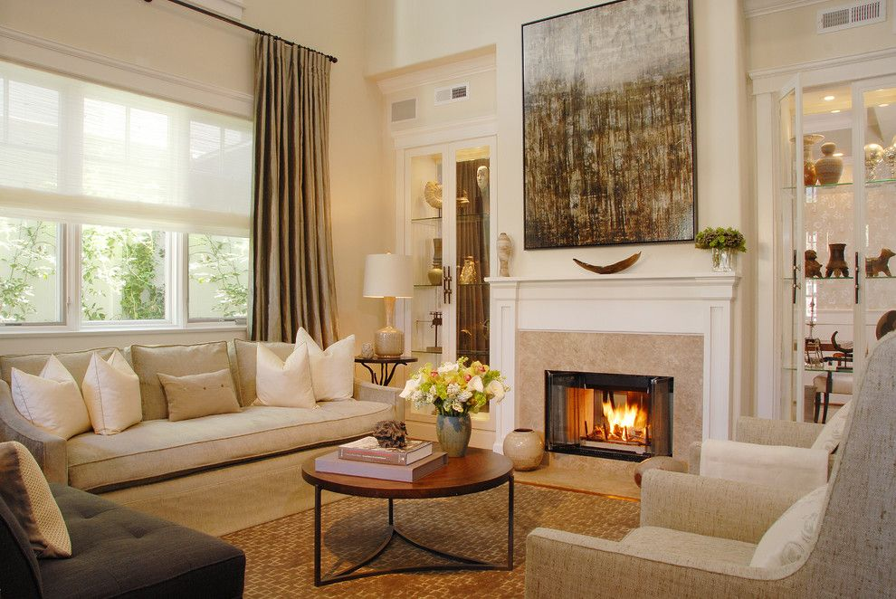 Benjamin Moore Swiss Coffee for a Transitional Living Room with a Drapes and Manhattan Beach Haven by Annette English