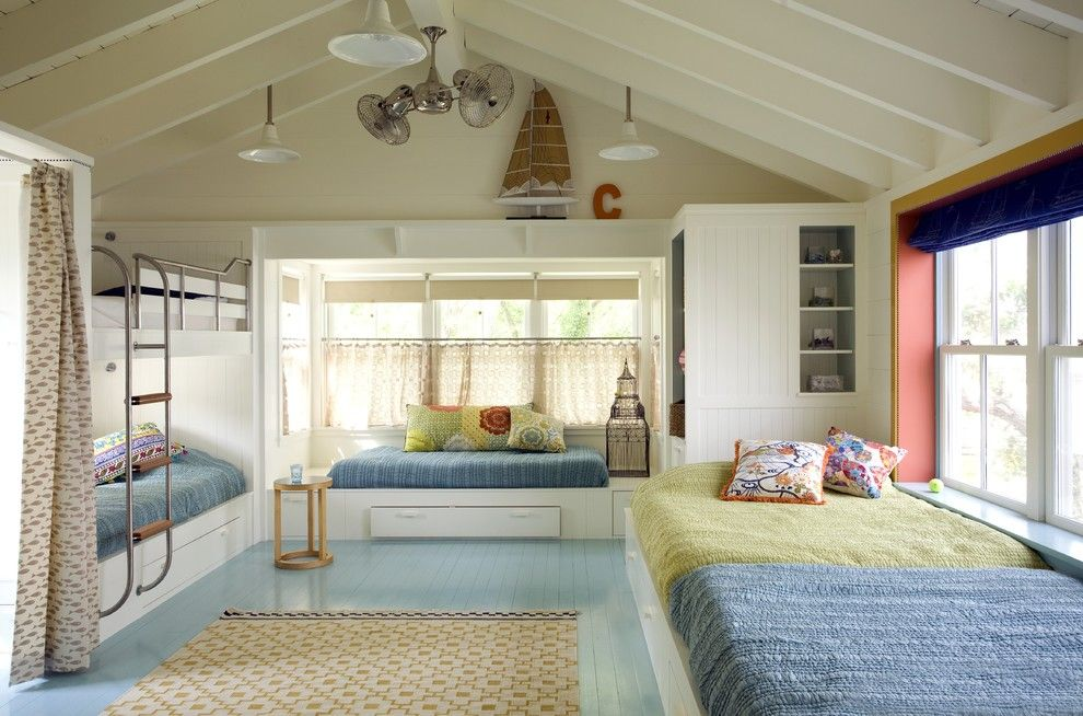 Benjamin Moore Tranquility for a Beach Style Kids with a Light Blue Floor and Bunk Room by Andra Birkerts Design