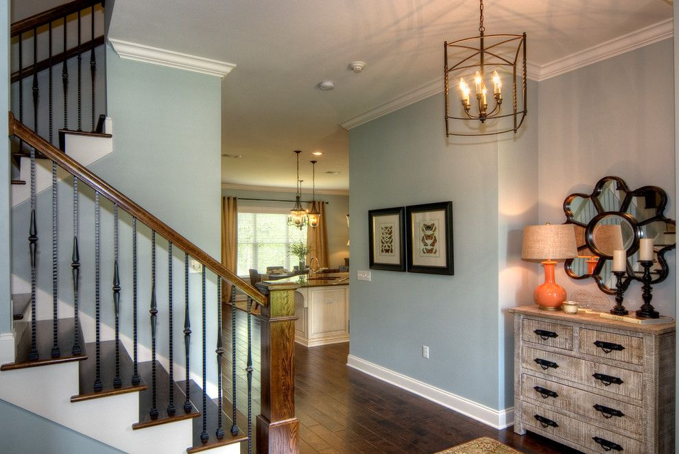 Benjamin Moore Tranquility for a Traditional Entry with a Basement and Swift Creek Model Home by Randy Wise Homes Inc