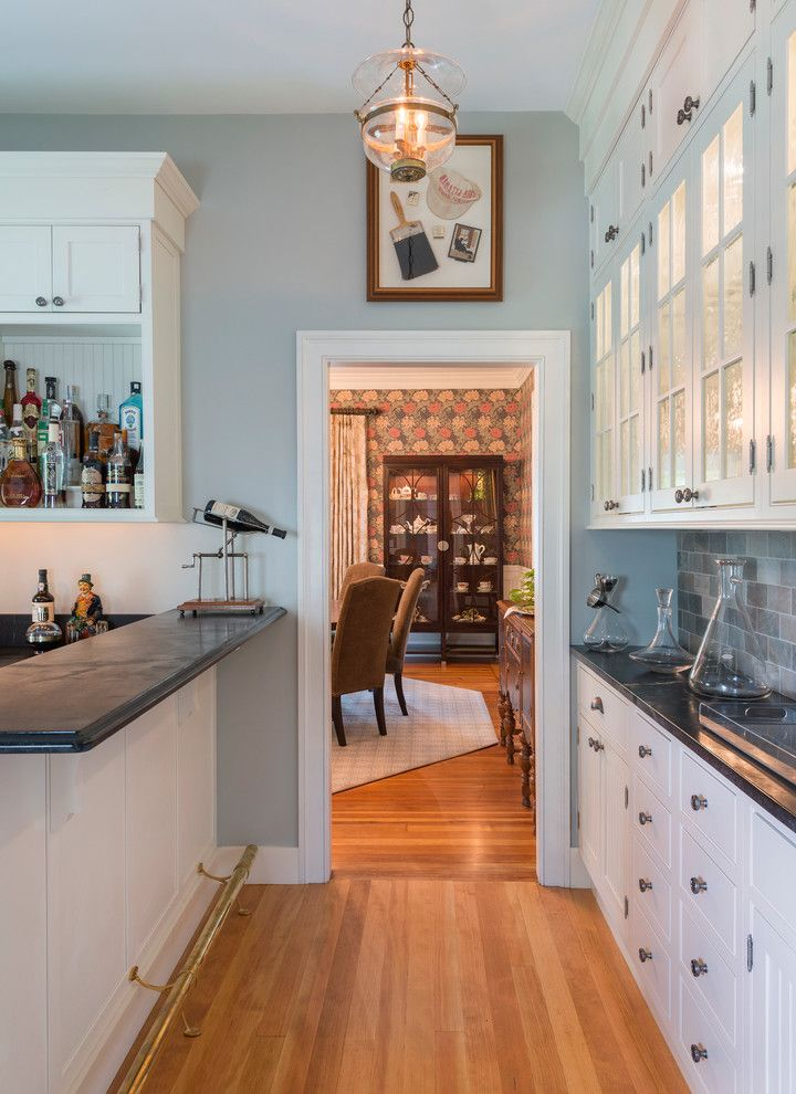 Benjamin Moore Tranquility for a Traditional Home Bar with a Traditional and Historic Renovation,