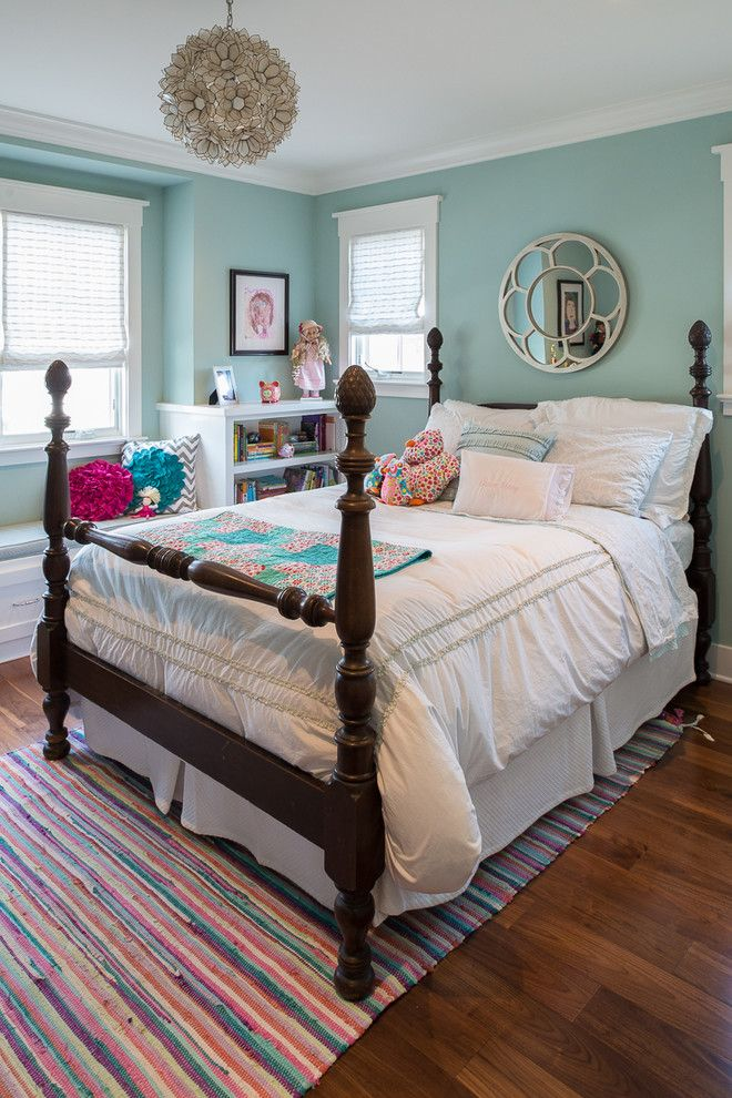 Benjamin Moore Tranquility for a Traditional Kids with a Window Seat and Kelton by Surrina Plemons Interiors
