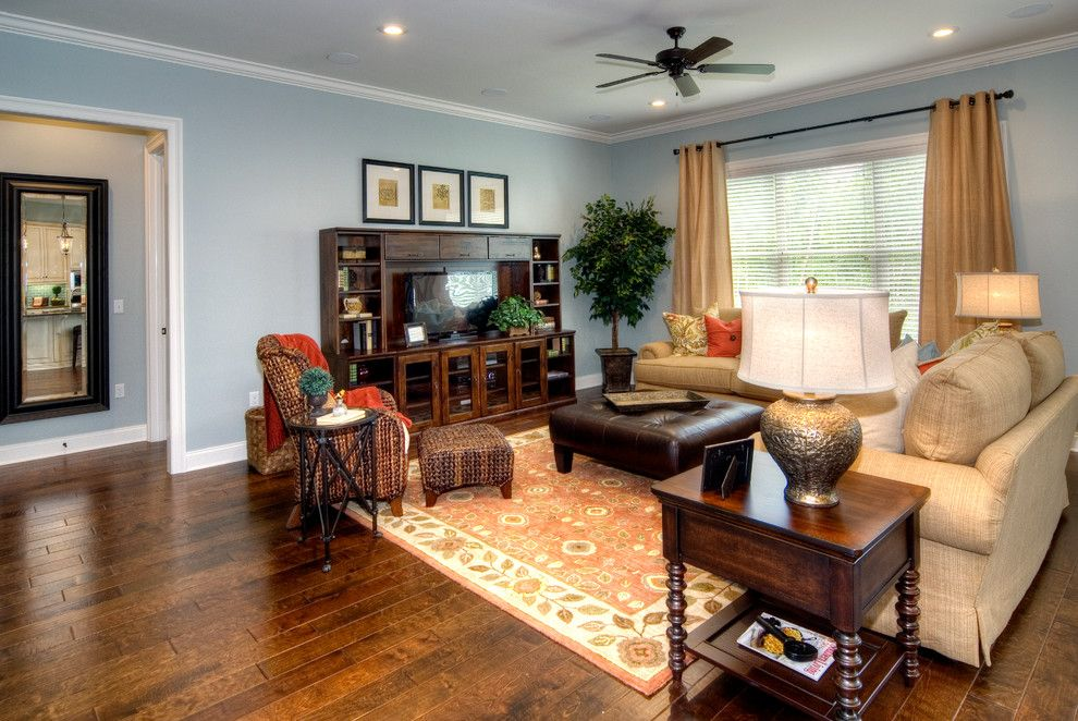 Benjamin moore tranquility for a traditional family room Model home family room pictures