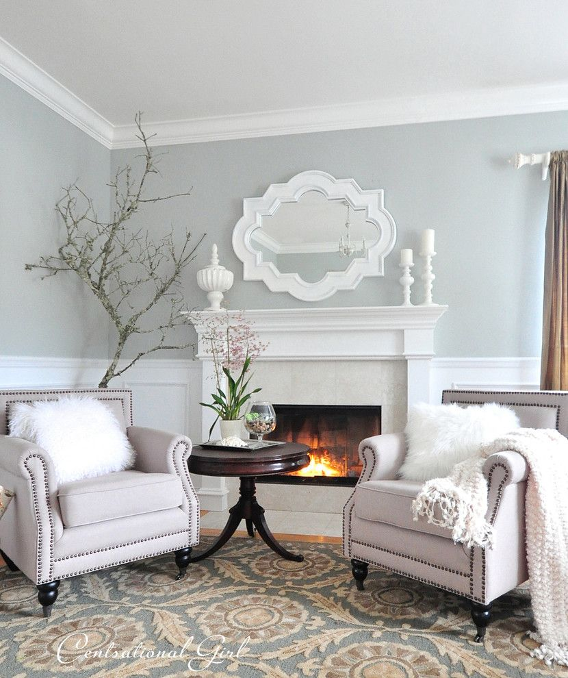 Benjamin Moore Tranquility for a Traditional Spaces with a Club Chairs and Living Room by Kate Riley   Centsational Girl
