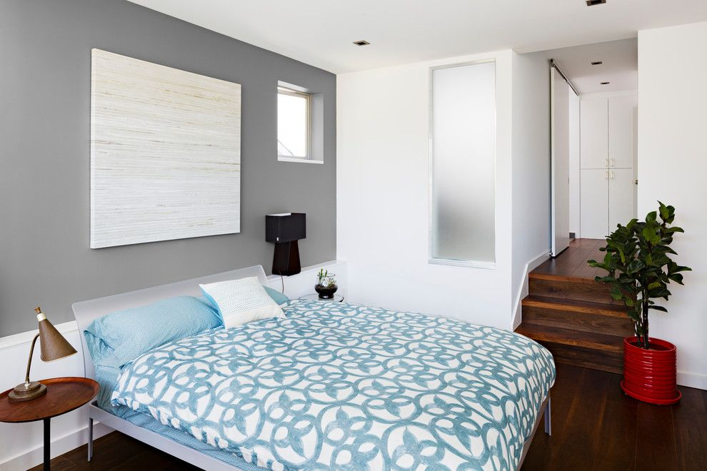 Benjamin Moore Wedgewood Gray for a Contemporary Bedroom with a Dark Wood Floor and Phinney Ridge Seattle by Portal Design Inc