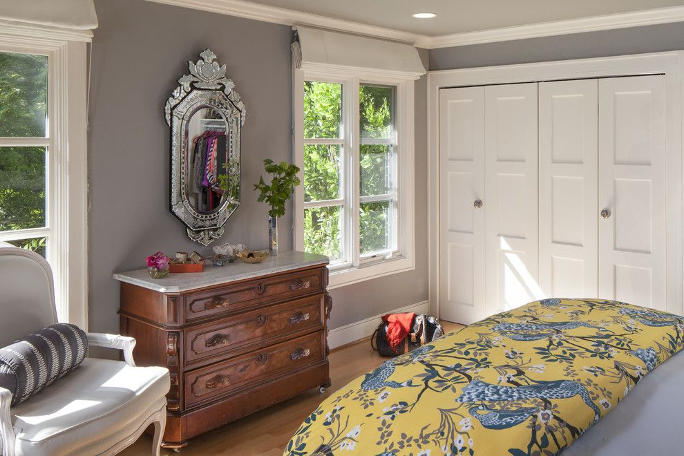 Benjamin Moore Wedgewood Gray for a Contemporary Bedroom with a Wood Flooring and Contemporary Transitional Master Bedroom by Holly Bender Interiors