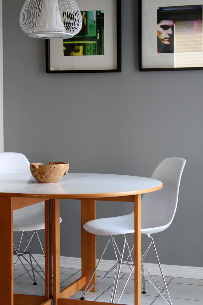 Benjamin Moore Wedgewood Gray for a Contemporary Dining Room with a Eat in Kitchen and Personal Home Tour by Leclair Decor