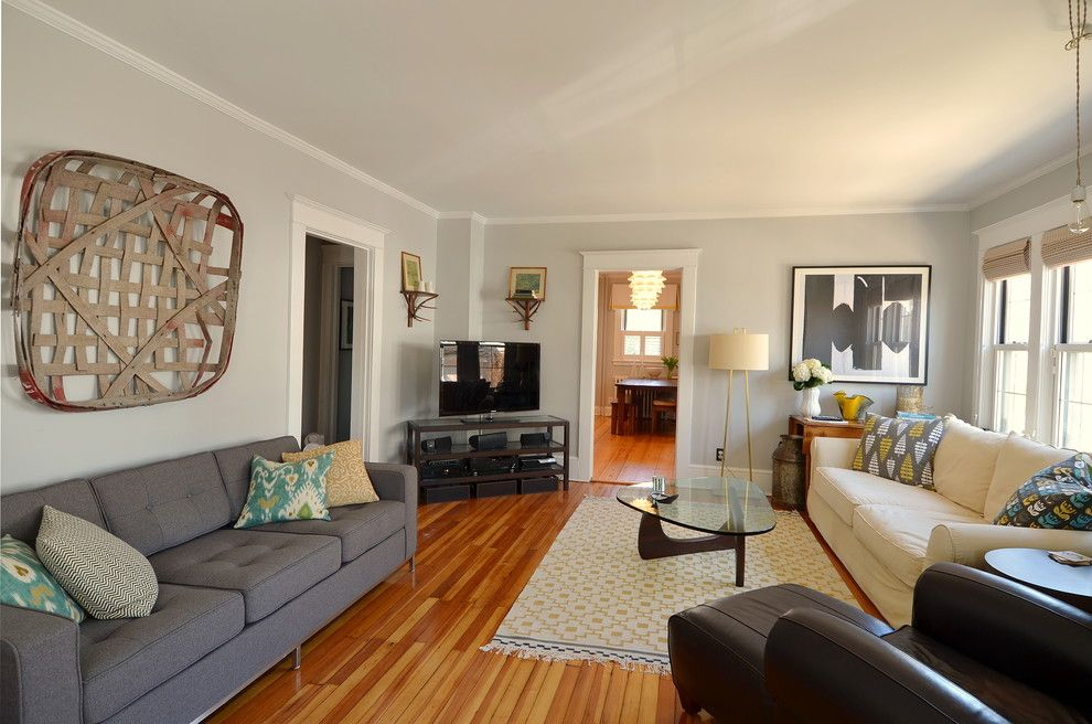 Benjamin Moore Wedgewood Gray for a Contemporary Living Room with a Decorative Pillows and My Home by Kelly Donovan