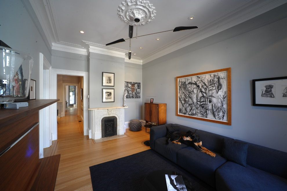 Benjamin Moore Wedgewood Gray for a Contemporary Living Room with a Gray Paint and 35 Liberty by Todd Davis Architecture