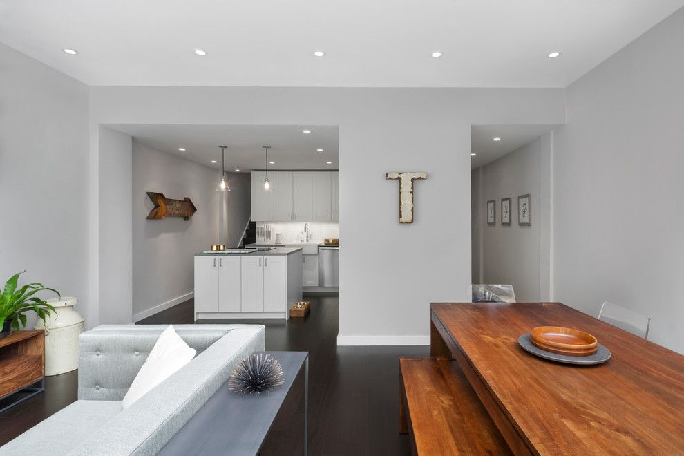Benjamin Moore Wedgewood Gray for a Modern Living Room with a Gray Walls and East Village Duplex by General Assembly