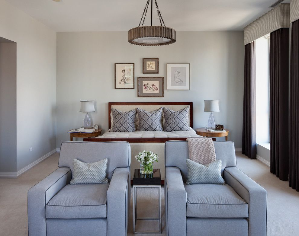 Benjamin Moore Wedgewood Gray for a Traditional Bedroom with a Beige Carpet and Gold Coast Condo by Buckingham Interiors + Design Llc