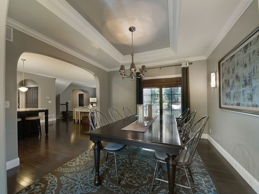 Benjamin Moore Wedgewood Gray for a Traditional Dining Room with a Painted Ceiling and Park Hill Renovation by Lowery Design Group