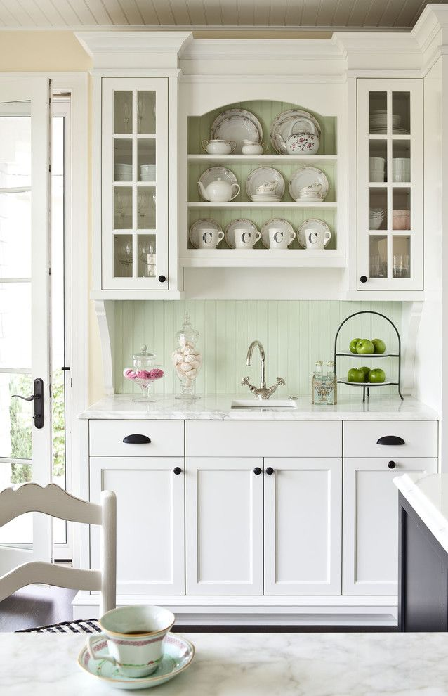 Benjamin Moore White Dove for a Traditional Kitchen with a Pastel and Sunnyside Road Residence Kitchen by Martha O'hara Interiors