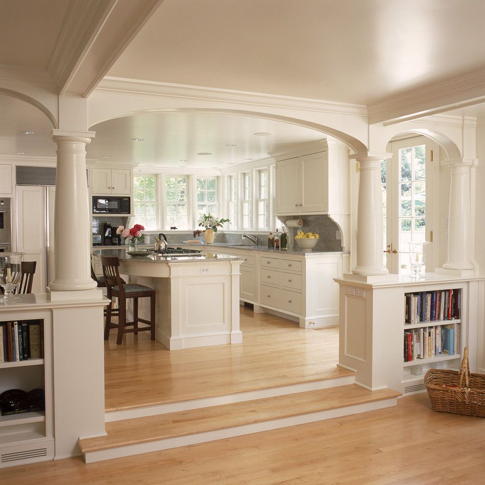 Benjamin Moore White Dove for a Traditional Kitchen with a Sunken Living Room and White Kitchen and Breakfast Room with Fireplace and Arches by Huestis Tucker Architects, Llc