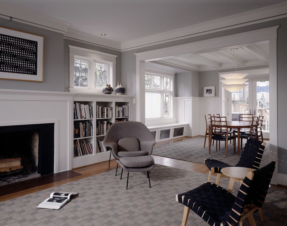 Benjamin Moore White Dove for a Traditional Living Room with a White Painted Trim and Sheri Olson by Sheri Olson Architecture Pllc