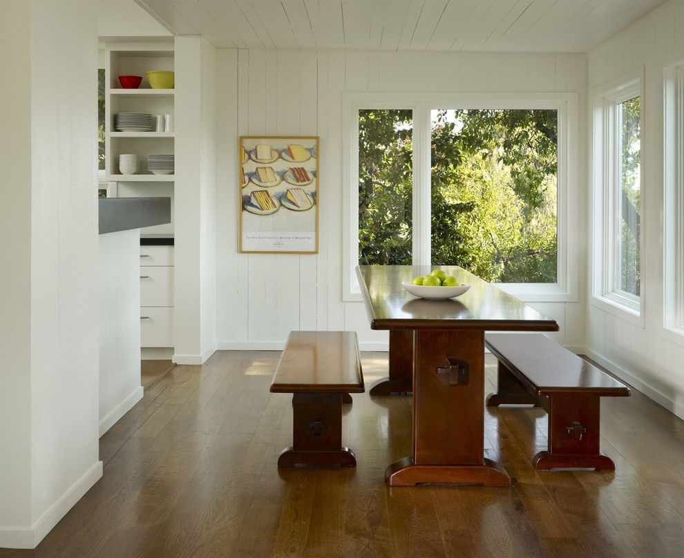 Benjamin Moore White Dove for a Transitional Dining Room with a Wall Art and Cary Bernstein Architect Potrero House by Cary Bernstein Architect