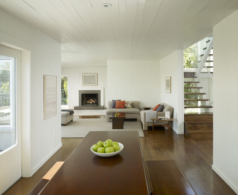 Benjamin Moore White Dove for a Transitional Living Room with a Area Rug and Cary Bernstein Architect Potrero House by Cary Bernstein Architect
