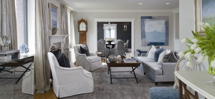 Benjamin Moore White Dove for a Transitional Living Room with a Gray Area Rug and Greenwich Penthouse by Tiffany Eastman Interiors, LLC