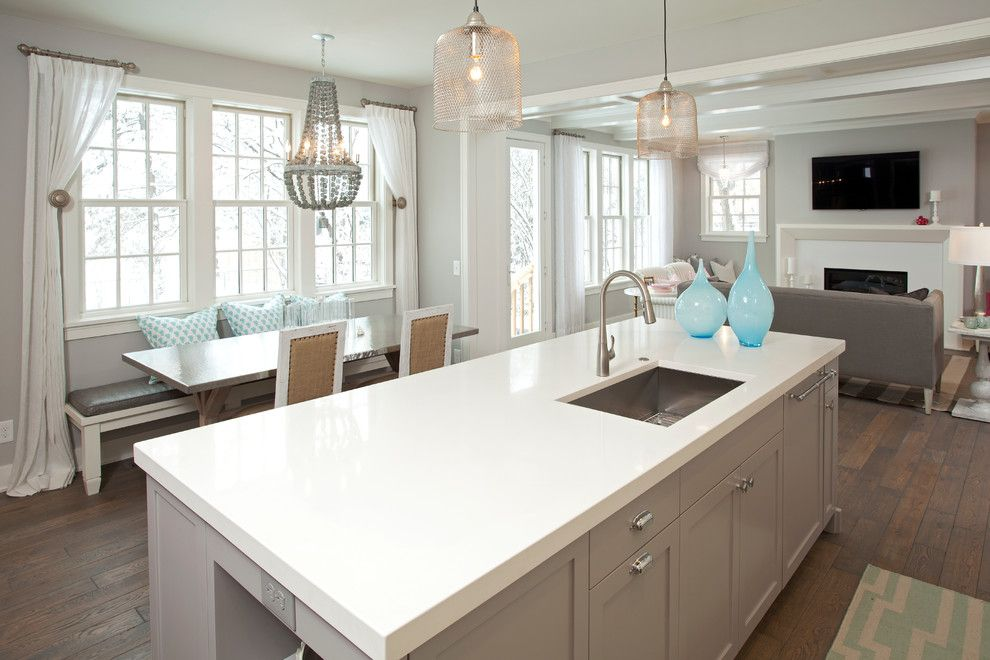 Benjamin Moore Wickham Gray for a Beach Style Kitchen with a Gray Cabinets and Coastal Casual by Refined Llc