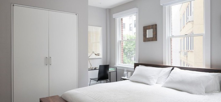 Benjamin Moore Wickham Gray for a Modern Bedroom with a Modern Bedroom and East Village Duplex by General Assembly