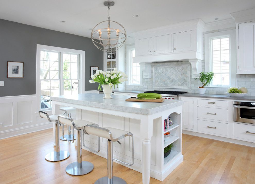 Benjamin Moore Wickham Gray for a Traditional Kitchen with a Wood Flooring and Soothing White and Gray Kitchen Remodel by Normandy Remodeling