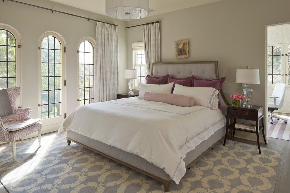 Benjamin Moore Wickham Gray for a Transitional Bedroom with a Blue and Master Bedroom   Lake of the Isles Parkway Residence by Martha O'hara Interiors