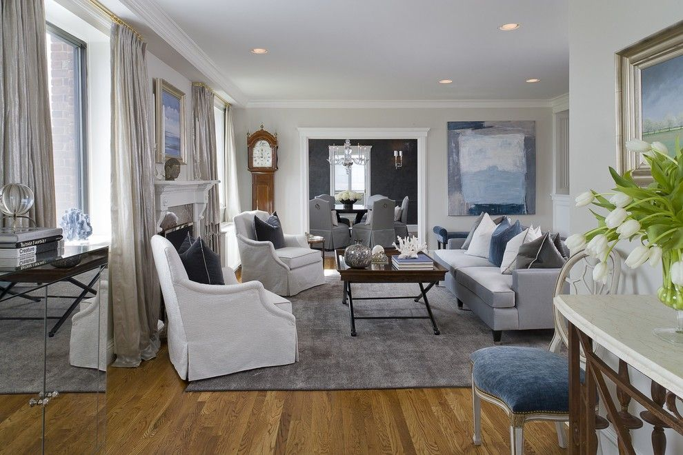 Benjamin Moore Wickham Gray for a Transitional Living Room with a Metallic Draperies and Greenwich Penthouse by Tiffany Eastman Interiors, Llc