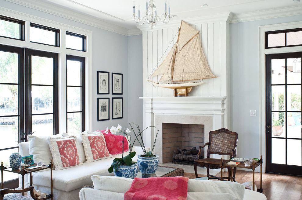 Benjamin Moore Wickham Gray for a Tropical Living Room with a Seating Area and