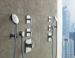 Berenson Hardware for a Modern Bathroom with a Handshower and Axor Citterio M Shower by Hansgrohe USA
