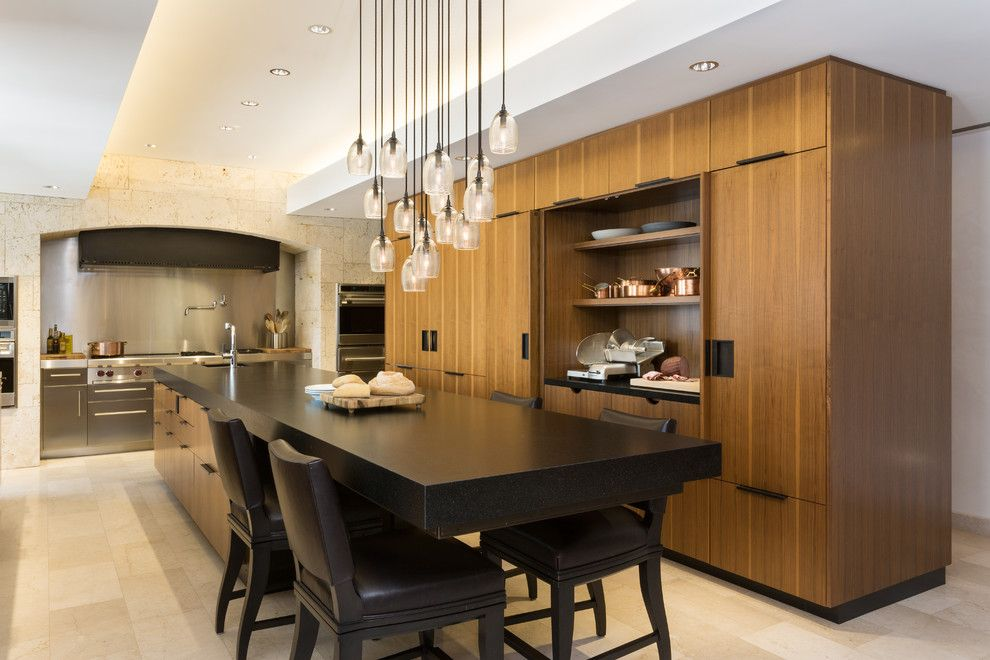 Berger Appliance for a Contemporary Kitchen with a Pendant Chandelier and Modern Scientist Residence by Touzet Studio