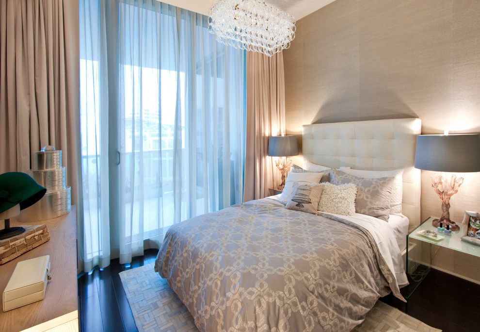 Bernhardt Interiors for a Contemporary Bedroom with a Beige Area Rug and Dkor Interiors   Interior Design at the Beach Club, Miami Beach, Fl by Dkor Interiors Inc.  Interior Designers Miami, Fl