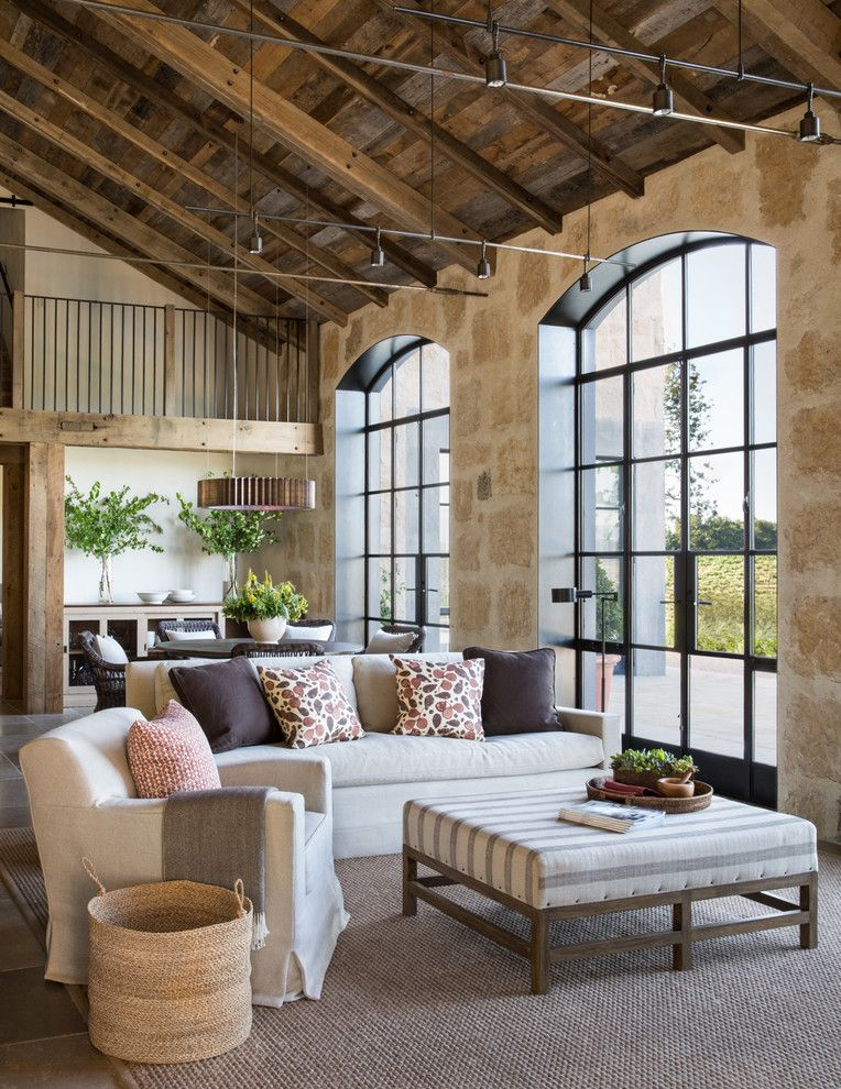 Bernhardt Interiors for a Farmhouse Living Room with a Striped Ottoman and Healdsburg Ranch by Jute Interior Design