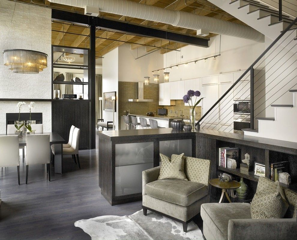 Bernhardt Interiors for a Industrial Living Room with a Dark Floor and Jamesthomas, Llc by Jamesthomas Interiors