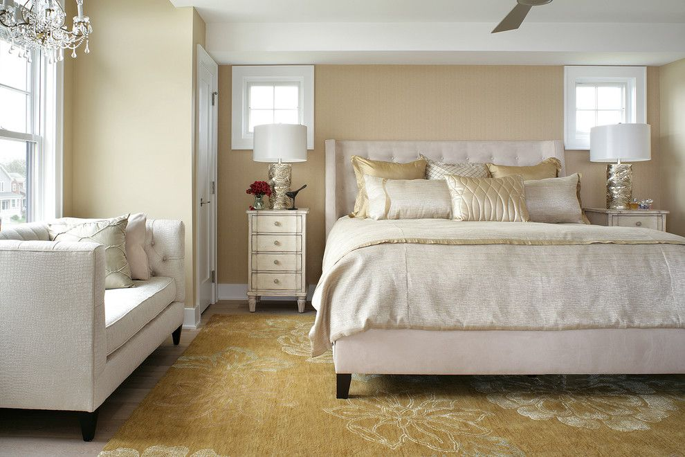 Bernhardt Interiors for a Transitional Bedroom with a Rugs Gold and Interior Design, Avon by Sea, Nj by Robert Legere Design