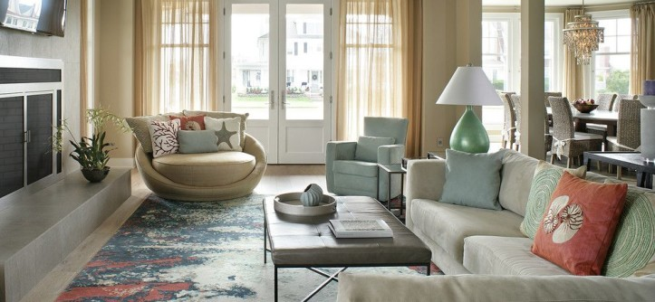 Bernhardt Interiors for a Transitional Living Room with a Custom Tile Design and Interior Design, Avon-by-Sea, NJ by Robert Legere Design