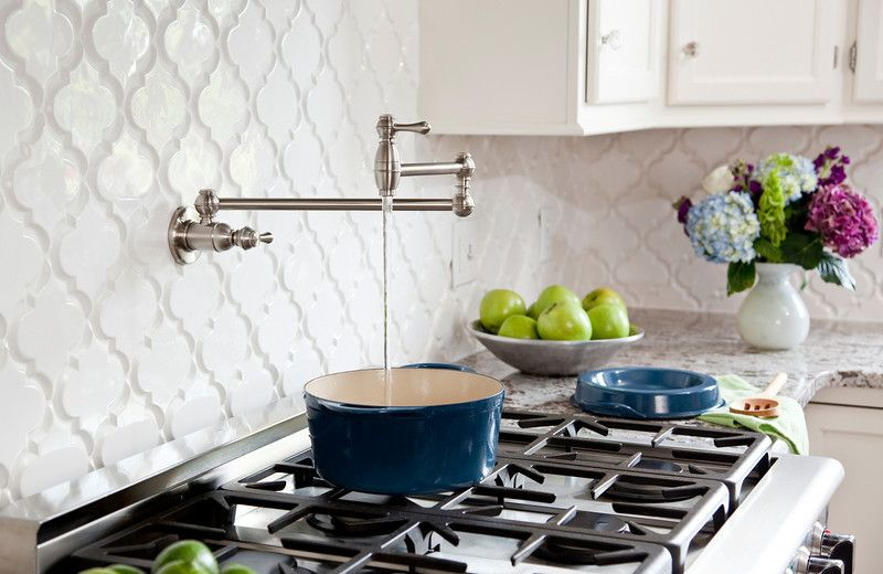 Bianco Antico Granite for a Contemporary Kitchen with a Blue and Green and White Kitchen with Bianco Antico Granite, Beveled Arabesque Tile by Karen Viscito Interiors