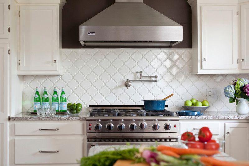 Bianco Antico Granite for a Contemporary Kitchen with a Cloud White and White Kitchen, with Bianco Antico Granite by Karen Viscito Interiors