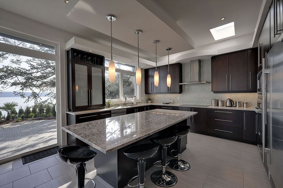 Bianco Antico Granite for a Contemporary Kitchen with a Tile Backsplash and Tracey Lamoureux by Creative Spaciz / Spaciz Design Studio