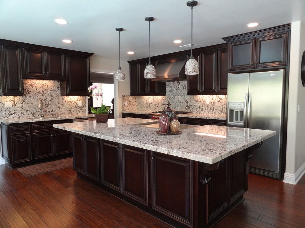 Bianco Antico Granite for a Traditional Kitchen with a Bianco Antico Kitchen Island and Yorba Linda  J.w Residence by Stone Studio,Inc.