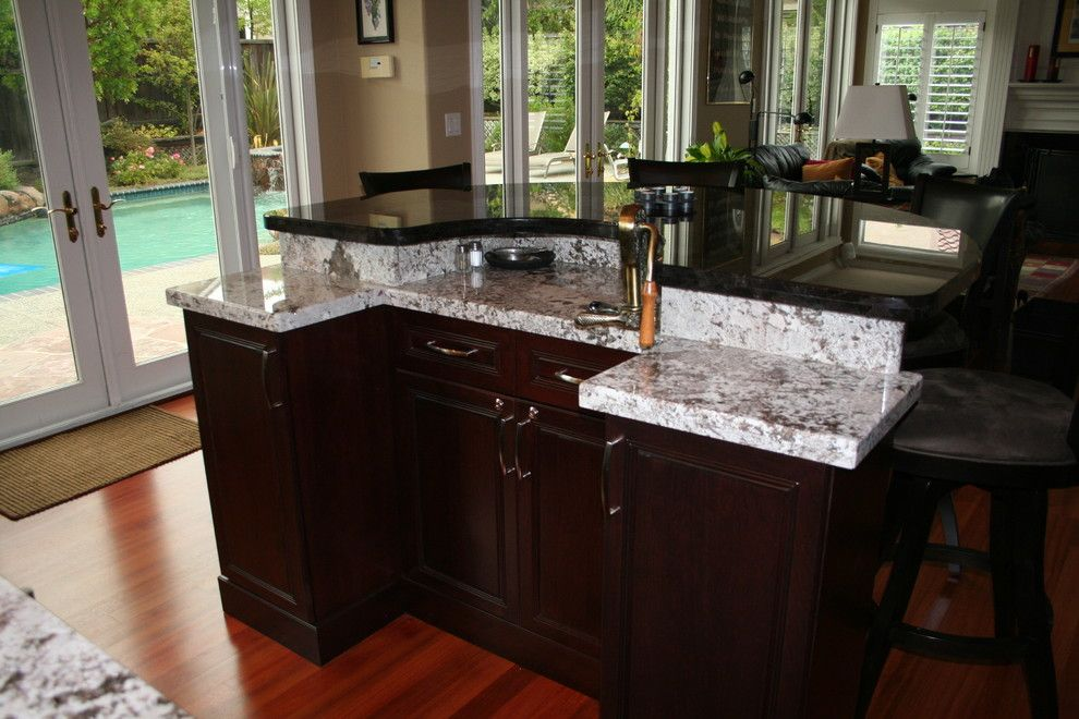 Bianco Antico Granite for a Traditional Kitchen with a Walk in Island and Morefield by Kitchens of Diablo