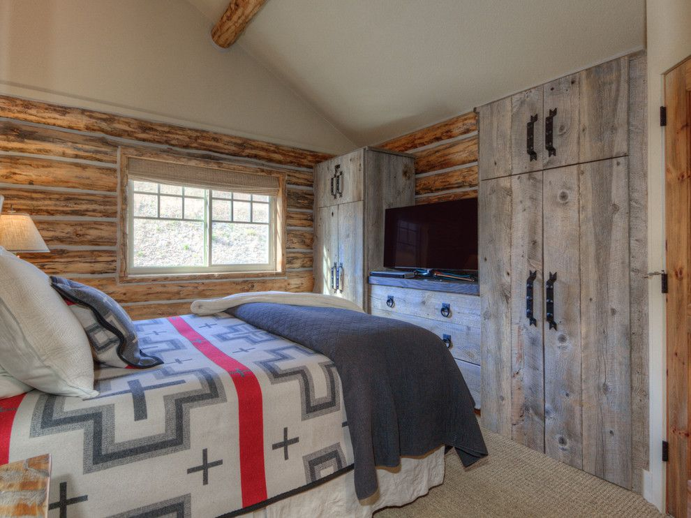 Big Sky Brokers for a Rustic Bedroom with a Big Sky Mt Interior Design and Cozy Big Sky Montana Ski Cabin Interior Design by Tatom Design Llc