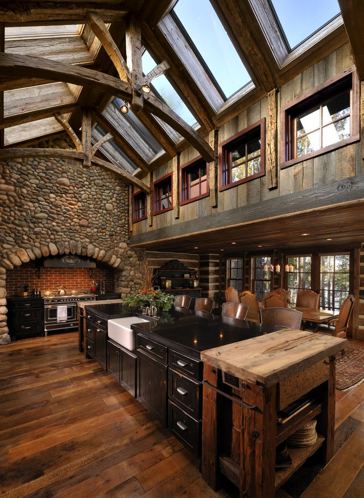 Big Sky Brokers for a Rustic Kitchen with a Clerestory and Lake Country Builders by Lake Country Builders