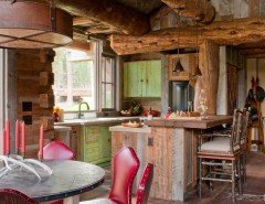 Big Sky Brokers for a Rustic Kitchen with a Dinning and Headwaters Camp Cabin, Big Sky, Montana by Dan Joseph Architects, LLC
