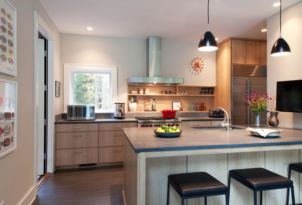 Bill Smith Appliances for a Contemporary Kitchen with a Doorway and Woodstock Retreat by Hall Smith Office Architecture