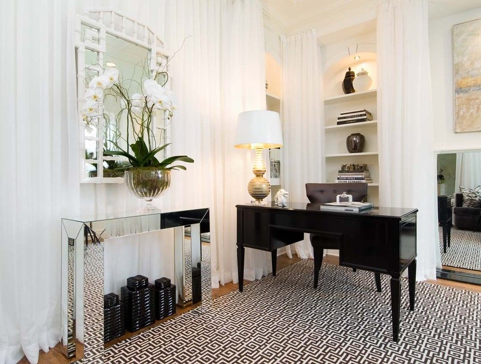 Billows Electric for a Contemporary Home Office with a White and Den of Decadence by Tiffany Eastman Interiors, Llc