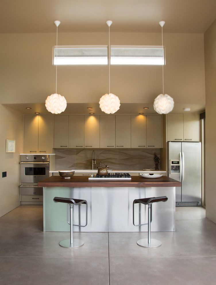 Billows Electric for a Contemporary Kitchen with a Concrete Floor and Santa Barbara Foothills, Mondern, New Construction, Las Canoas Residence by Thompson Naylor Architects Inc