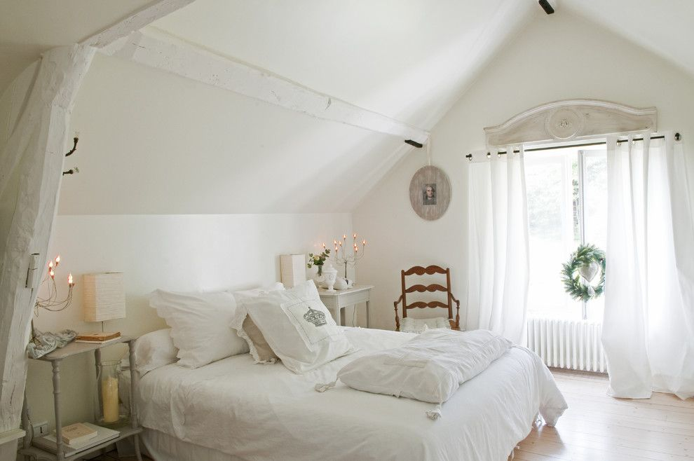 Billows Electric for a Shabby Chic Style Bedroom with a Blanc and French Country Home by Catherine Sandin
