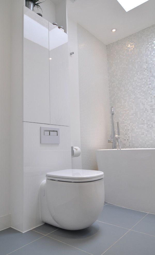 Bisazza for a Contemporary Bathroom with a Bathroom and Brilliant White Bathroom by Kia Designs