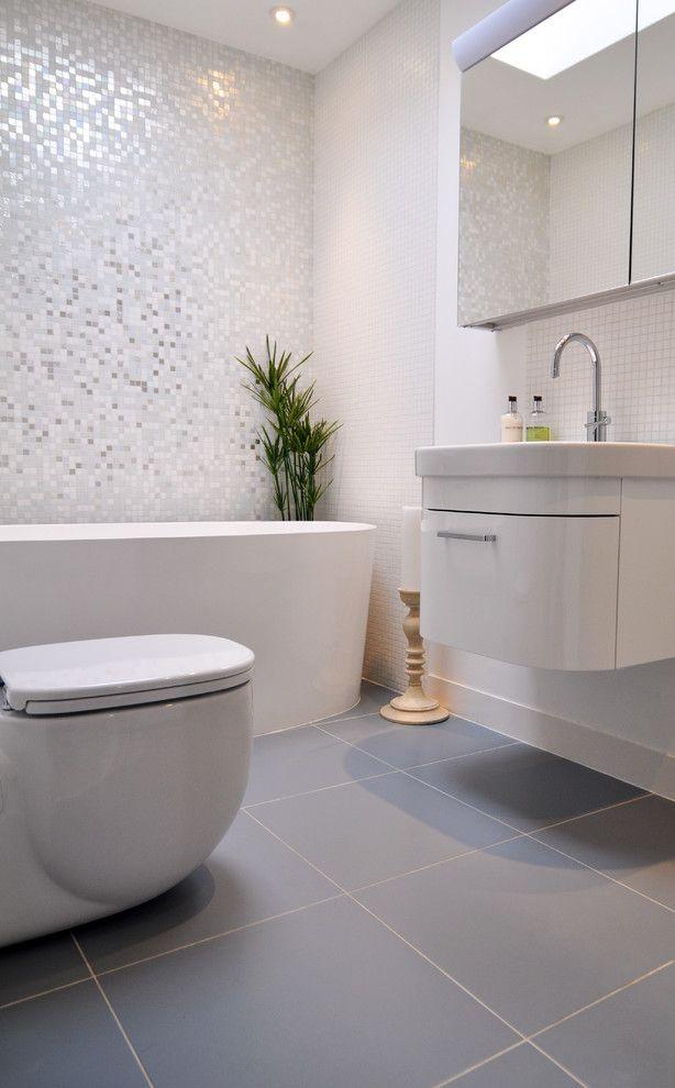 Bisazza for a Contemporary Bathroom with a Bisazza and Brilliant White Bathroom by Kia Designs